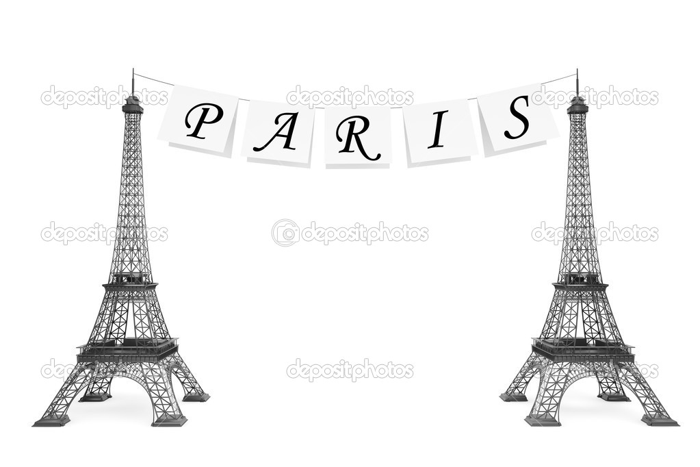 Eiffel Tower Black And White Background Eiffel Tower on a White