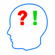 Contour of the head with question and exclamation marks — Stock Photo