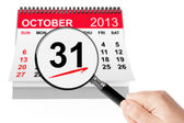 Halloween Day Concept. 31 october 2013 calendar with magnifier — Stock Photo