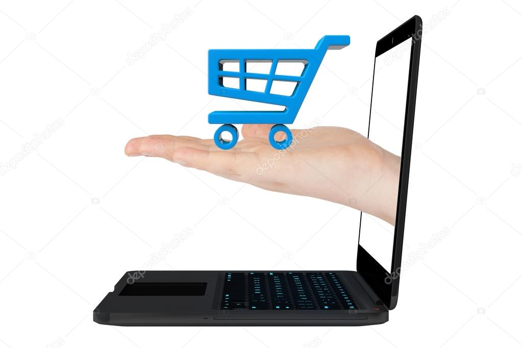 3d man and laptop online shopping , on white background Photo by digitalgenetics