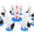3d person businessmans with tax cubes — Stockfoto