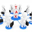 Stock Photo: 3d person businessmans with tax cubes