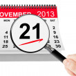 No Smoking Day Concept. 21 November 2013 calendar with magnifier — Foto Stock