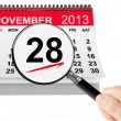 Thanksgiving Day Concept. 28 November 2013 calendar with magnifi — Stock Photo
