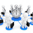 3d person businessmans around Stopwatch — Stok fotoğraf