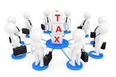 3d person businessmans with tax cubes — Stock Photo