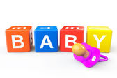 Baby Cubes with pacifier — Foto Stock