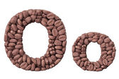 Alphabet from coffee beans. Letter O coffee design — Stock Photo