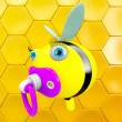 Cartoon Bee with pacifier — Stock Photo