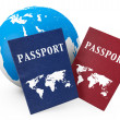 World travel Concept. Earth and passports — Stock Photo