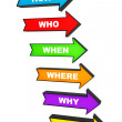 Several colorful arrows with various questions — Stock Photo