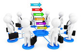 3d persons businessmans around Several colorful arrows with vari — Stock Photo
