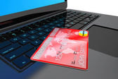 E-commerce Concept. Laptop computer and Credit Card — Stock Photo