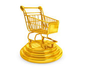 Best Sellers concept. Golden Shopping Cart — Stock Photo