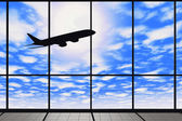Airport windows with flying airplane  — Photo