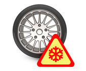 Winter Car Wheel Tire with snowflake sign — Foto de Stock