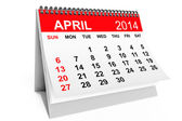 2014 年 4 月のカレンダー — ストック写真
