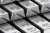 Stack of Bank Silver Bars closeup — Stock Photo