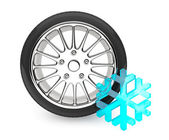 Winter Car Wheel Tire with snowflake — Zdjęcie stockowe
