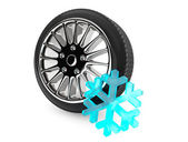 Winter Car Wheel Tire with snowflake — Stockfoto
