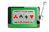 Slot machine inside Tablet PC — Stock Photo
