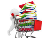 3d person pushing shopping cart with books — Stock Photo