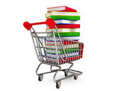 Many books on shopping cart — Stock Photo
