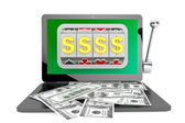 Slot machine inside laptop with dollars — Stockfoto