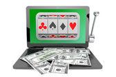 Slot machine inside laptop with dollars — Stock Photo