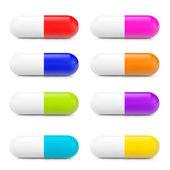 Sağlık kavramı. farklı renklerde tıbbi ilaç seti — Stok fotoğraf