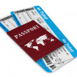 Air travel concept. Air Tickets with Passport — Stock Photo #45553555