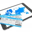 Online booking concept. Tablet PC with air tickets — Stock Photo #45553573