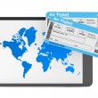 Online booking concept. Tablet PC with air tickets — Stock Photo