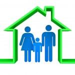 familia de las personas en una vivienda 3d — Foto de Stock   #45553871