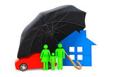 Black umbrella covers home, car and persons — Stock Photo