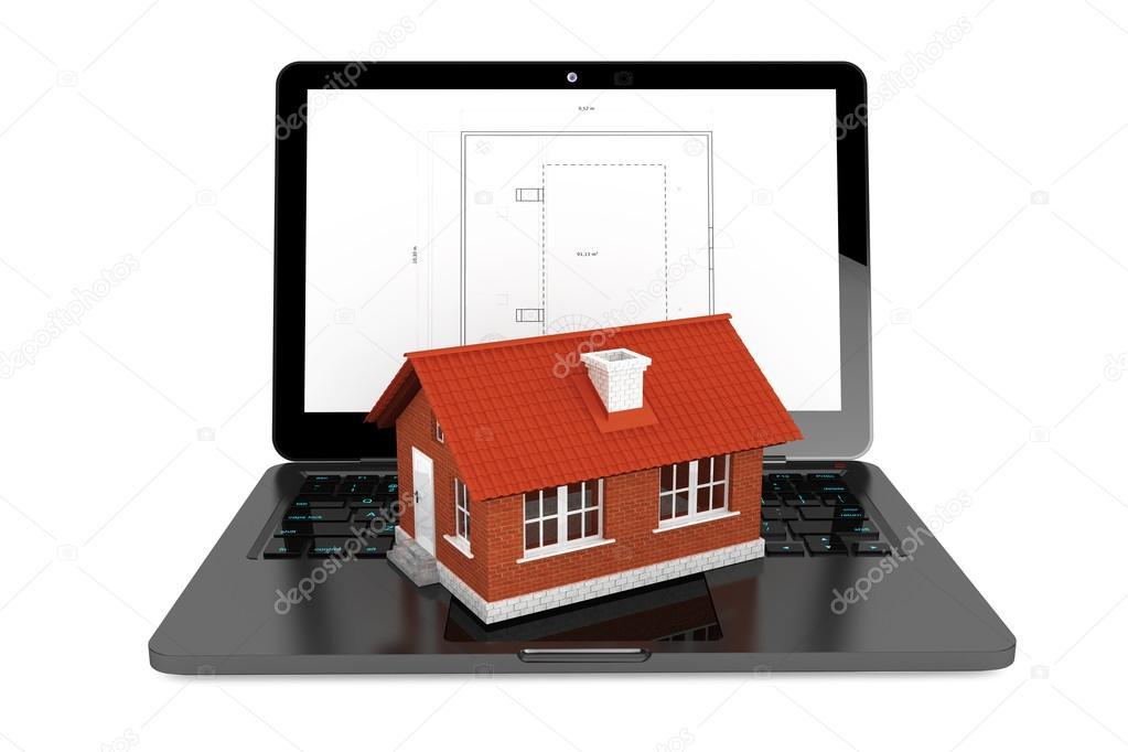 casa 3d sul portatile con il modello di progetto casa