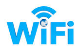 Blue WiFi symbol with Earth Globe — Stock Photo