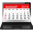 August calendar over laptop screen — Stock Photo #48716369