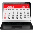 July calendar over laptop screen — Stock Photo #48718321