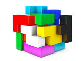 Multicolour cube brain teaser game — Stock Photo
