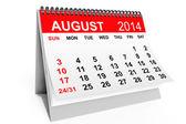 Календарный август 2014 — Стоковое фото
