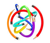 Warp Multicolour Pencils as ball — Stock Photo