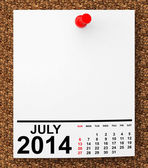 Calendar July 2014 — Stock Photo