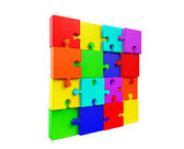 Wall of the colorful puzzles — Stockfoto