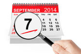 Salami Day Concept. 7 september 2014 calendar with magnifier — Stock Photo