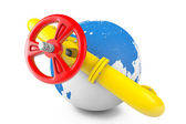 Gas pipeline with Earth Globe — Stock Photo