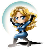 Invisible Woman Chibi — Stock Photo