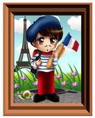 Cute Little French Boy Chibi — Stock Photo