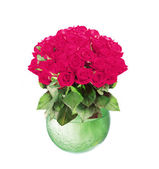 Bouquet di rose rosa in vaso di vetro isolato su sfondo bianco — Foto Stock