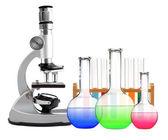 Metalowe mikroskop laboratoryjny i probówek z płynem na białym tle — Zdjęcie stockowe